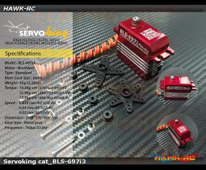 ServoKing BLS-697i3 Digital Standard Size Brushless Tail Servo (0.035s, 17.5kg @ 8.4V Narrow Band)